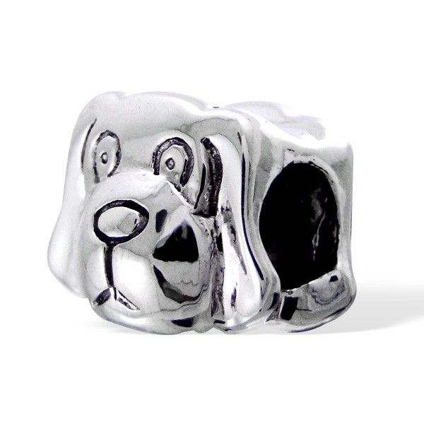 Cute Dog Real Sterling Silver Charm Bead