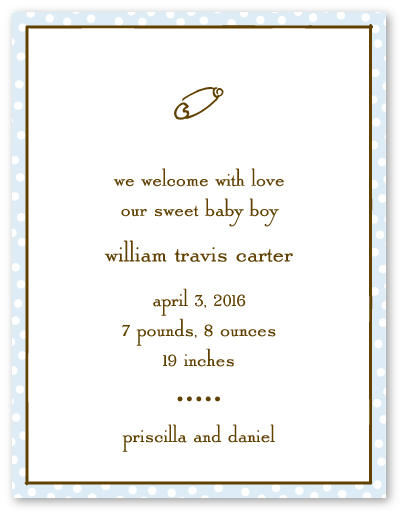 IFL3845BV dotted edge blue chocolate boy birth announcement or – Sweet Pea Designs Baby Announcements