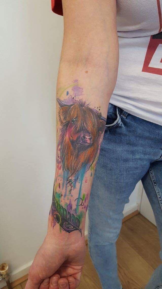 Highland Cow Watercolour Tattoo Tattoos Highland Cow Tattoo