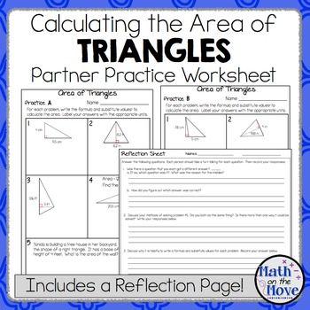 Area Of Triangles Partner Practice Worksheet With A Reflection Page Word Problems Math Talk Reflection
