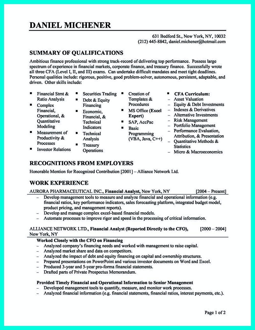 Writing credit analyst resume is a must if you want to get a job ...