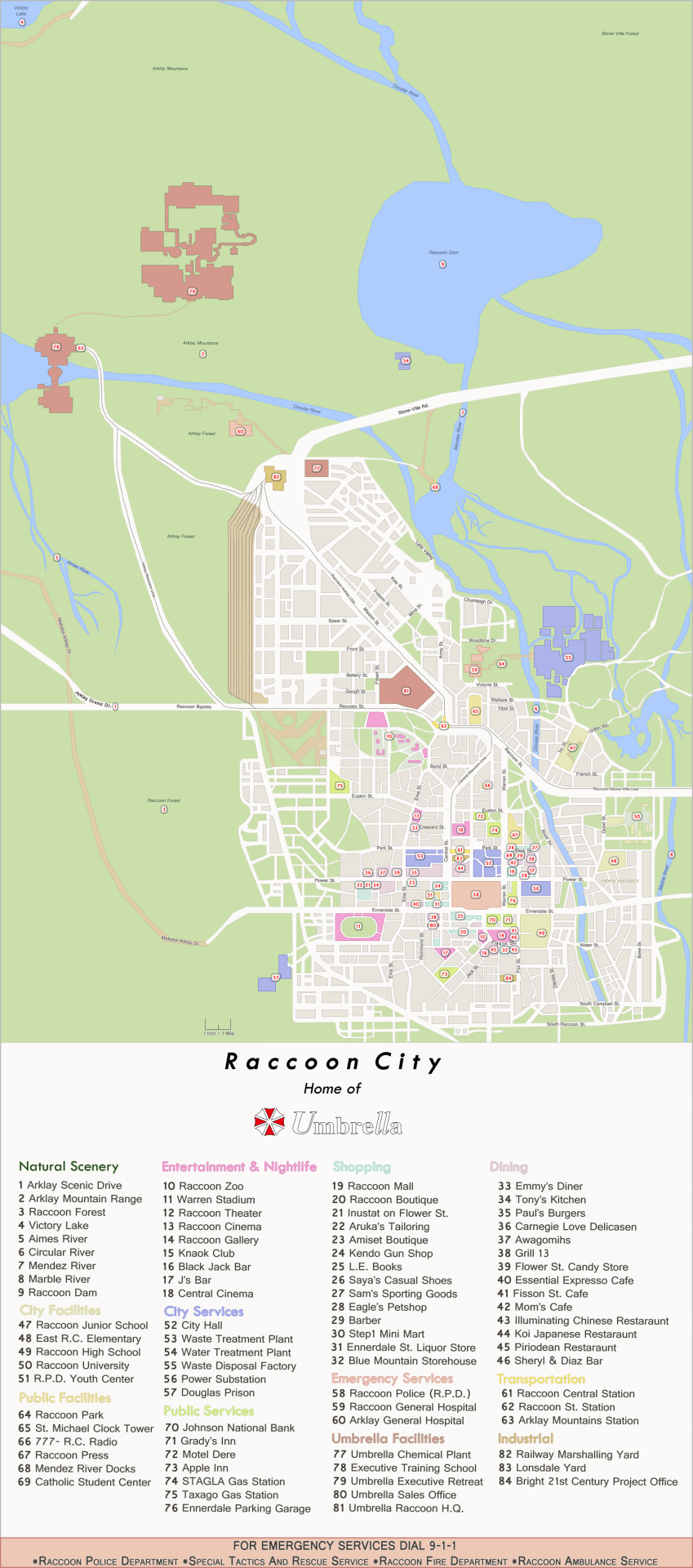 Raccoon City Map Resident Evil Evil Resident