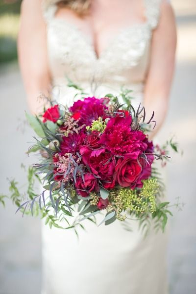 Magenta bouquet: http://www.stylemepretty.com/california-weddings/montecito/2014/12/23/elegant-san-ysidro-ranch-holiday-wedding/ | Photography: Melissa Musgrove - http://www.melissamusgrove.com/