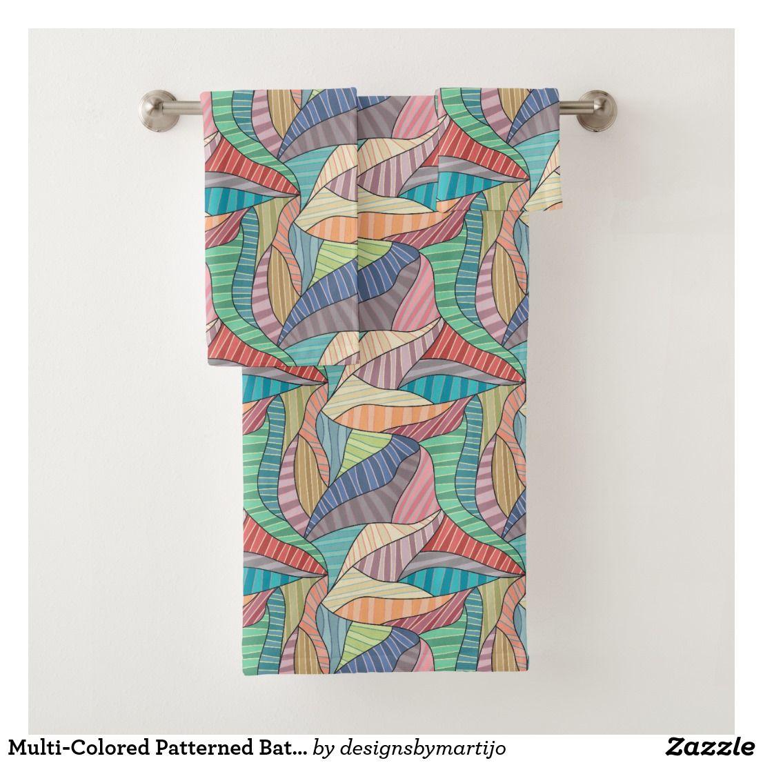 Multi Colored Patterned Bath Towel Set Zazzle Com Bath Towel