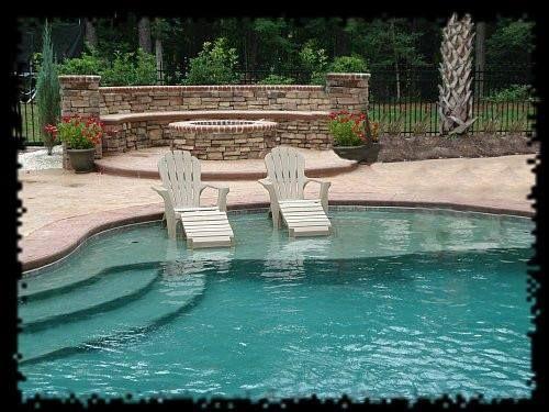 Inground pool with tanning ledge pools pinterest pools for Pool design with tanning ledge