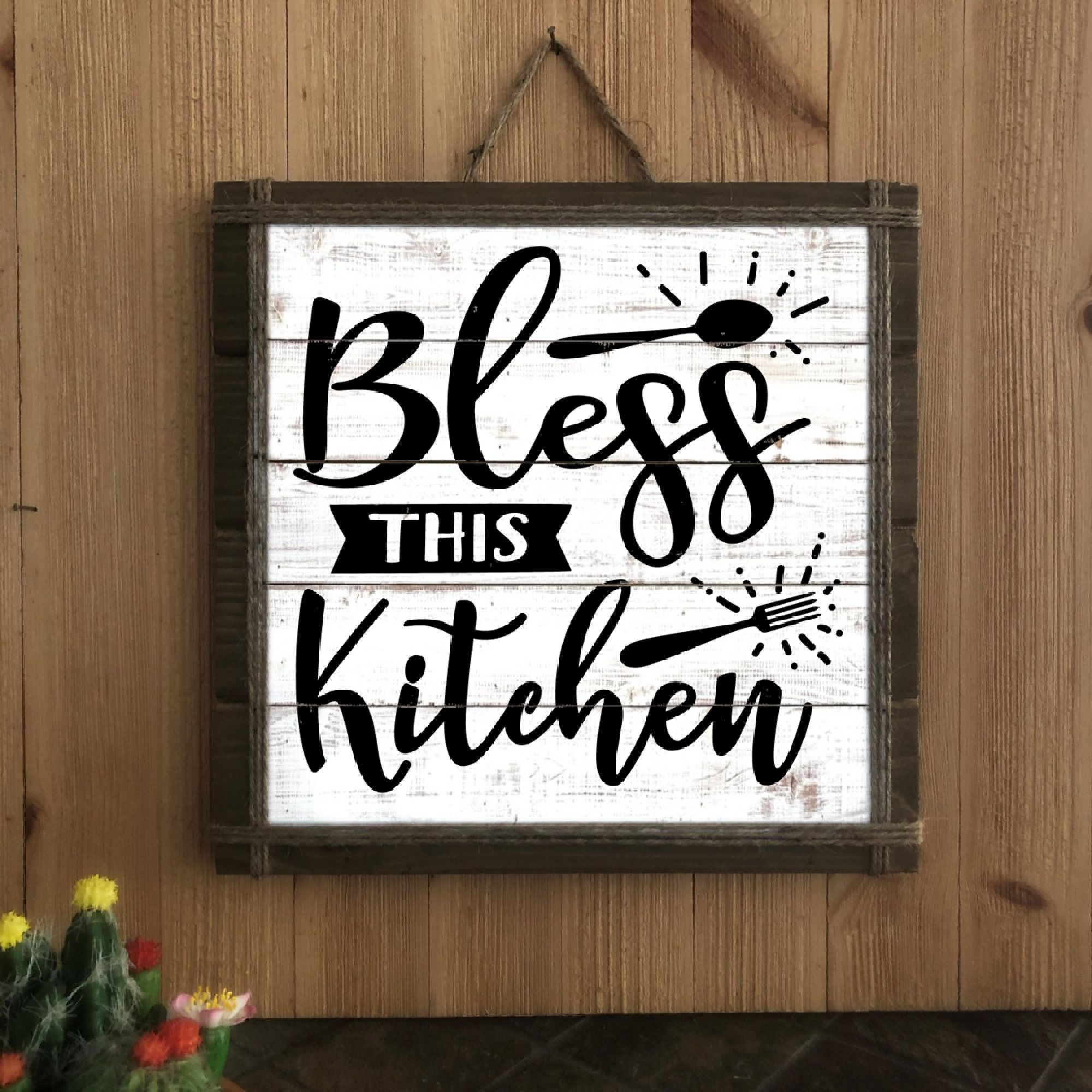 Bless This Kitchen Wood Kitchen Sign Farmhouse Kitchen Etsy Kitchen Signs Wood Kitchen Signs Kitchen Decor Signs