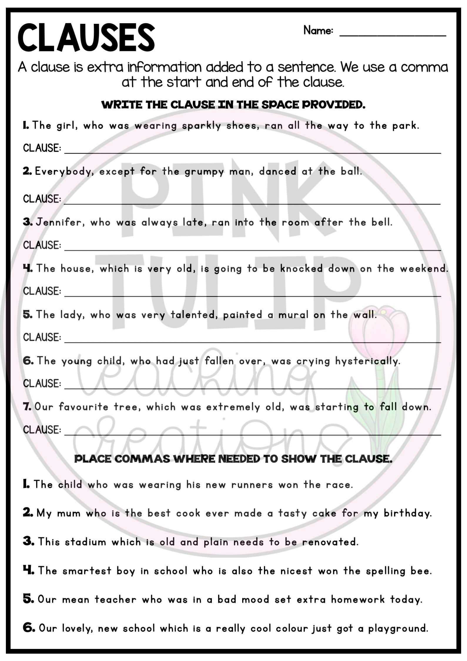 Understanding Clauses Worksheets