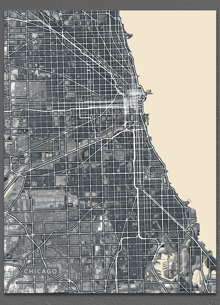 Vintage inspired black and white map art print of Chicago
