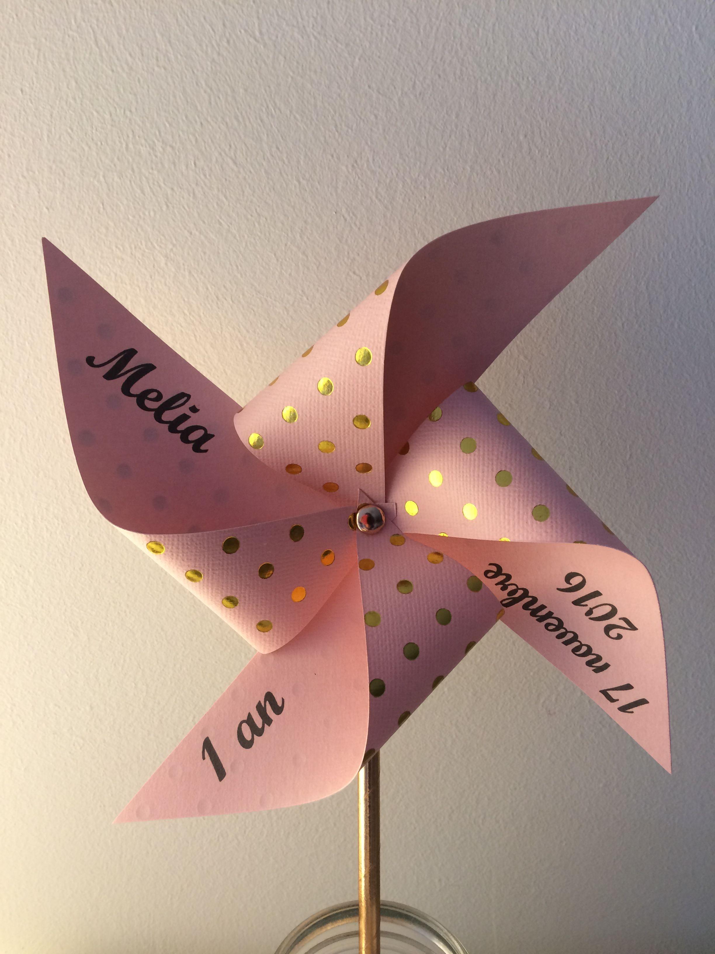 Moulin à vent deco rose et doré pour anniversaire, Bapteme, mariage ...
