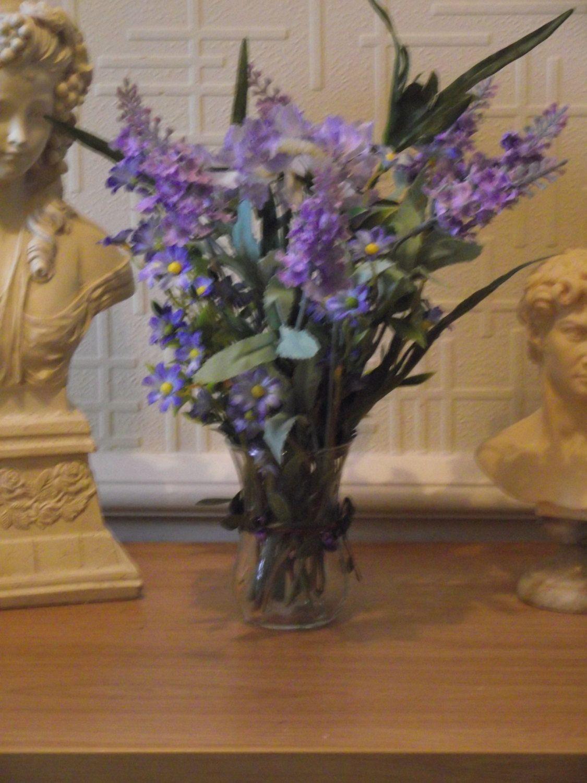 Small realistic silk flower arrangement of forget me nots lavender small realistic silk flower arrangement of forget me nots lavender and scabiosa in a glass vase set in clear acrylic water mightylinksfo