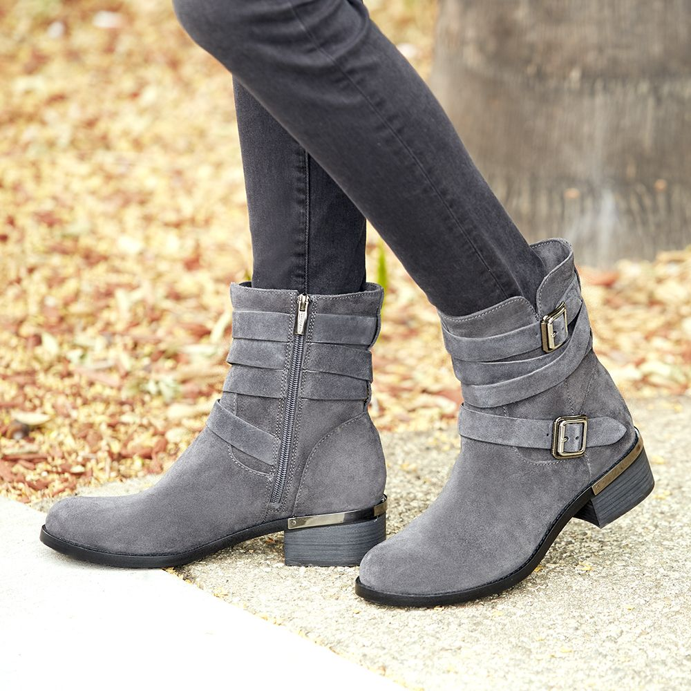 3e716d96698 Grey suede moto boot with buckled straps | Vince Camuto Webey ...