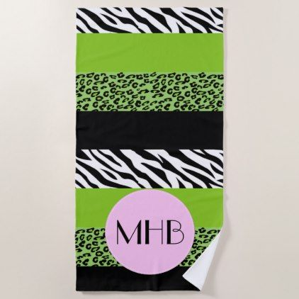 Monogram Animal Print Zebra Leopard Green Beach Towel Black