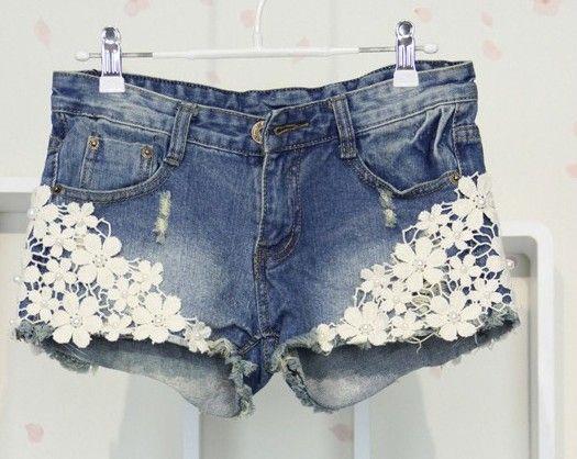 Buraco Jeans Verão 2013 As mulheres atam milímetros soltos Plus Size Denim calças curtas  $12,45
