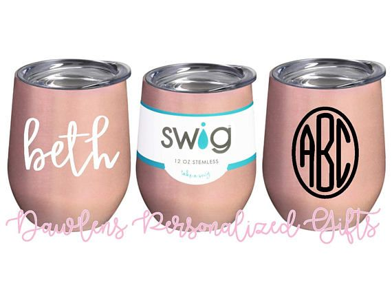 7f223fea768 Personalized 12oz Swig stemless wine cup {Rose Gold} | Gifts to Give ...