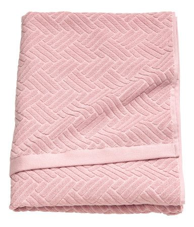 Light Pink Bath Towel In Cotton Terry With A Jacquard Weave Pattern