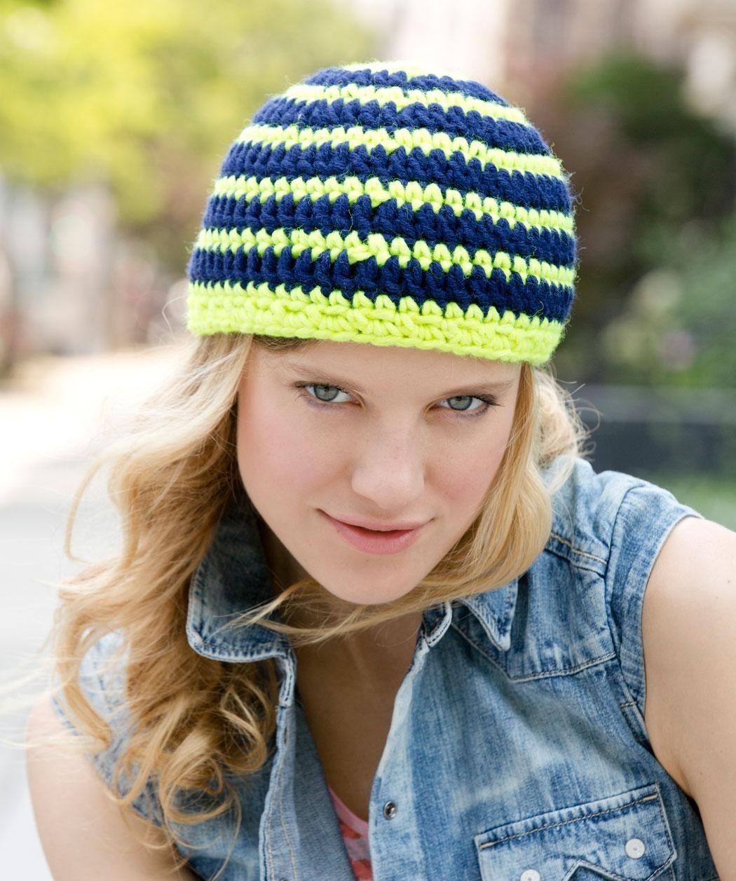 Striking Stripes Hat Free Crochet Pattern from Red Heart Yarns | New ...