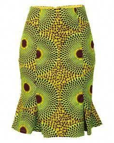 African Print Pencil Skirt with Ruffle Hem - Green/Brown #KenteSpecials #africanprintdresses