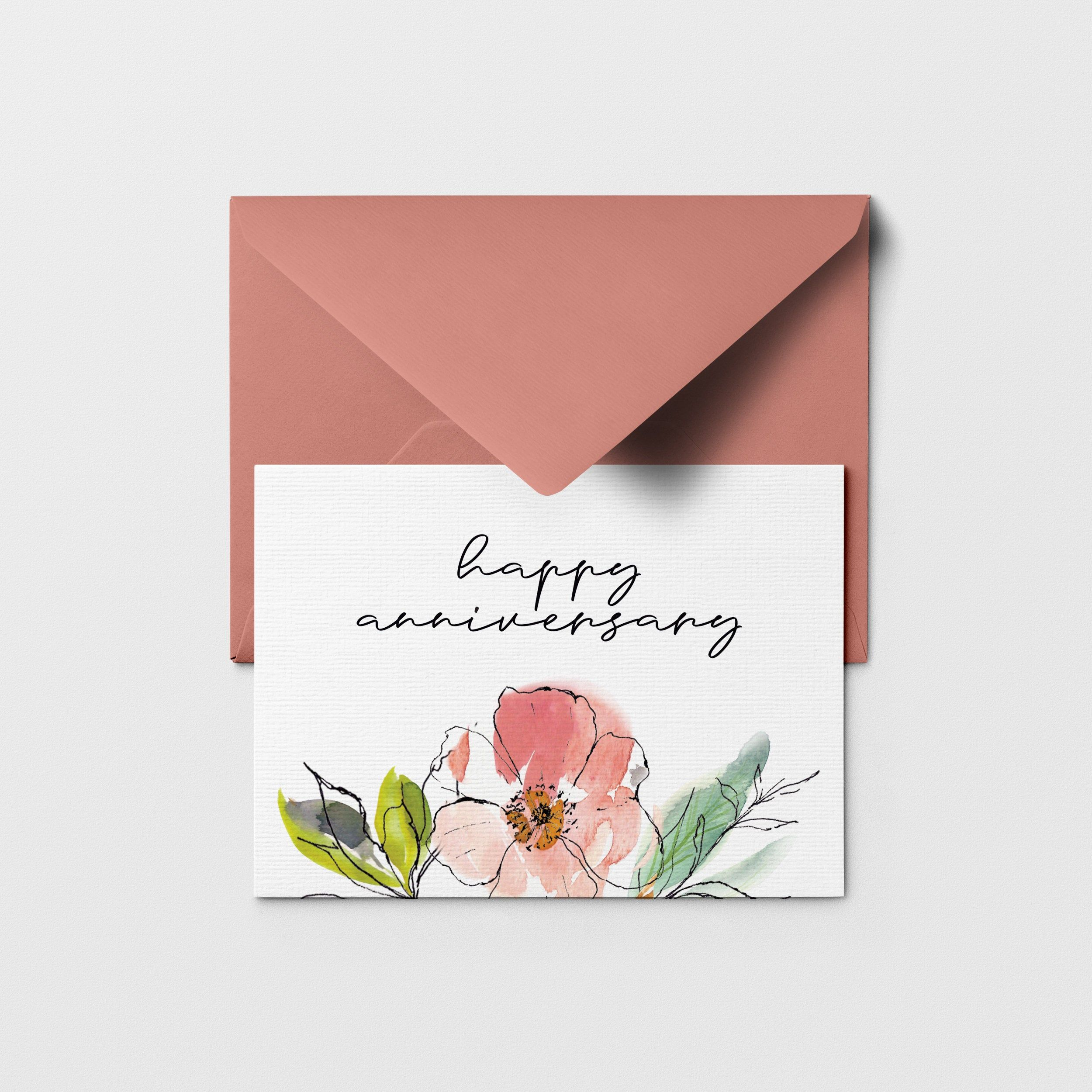 Printable Happy Anniversary Greeting Card Floral Happy Etsy In 2020 Watercolor Anniversary Card Happy Anniversary Cards Anniversary Greeting Cards