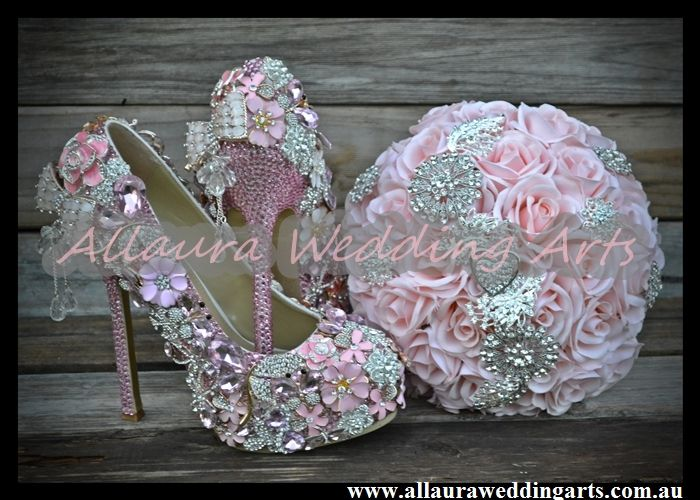 bling bridal shoes and bling bouquet diamante encrusted