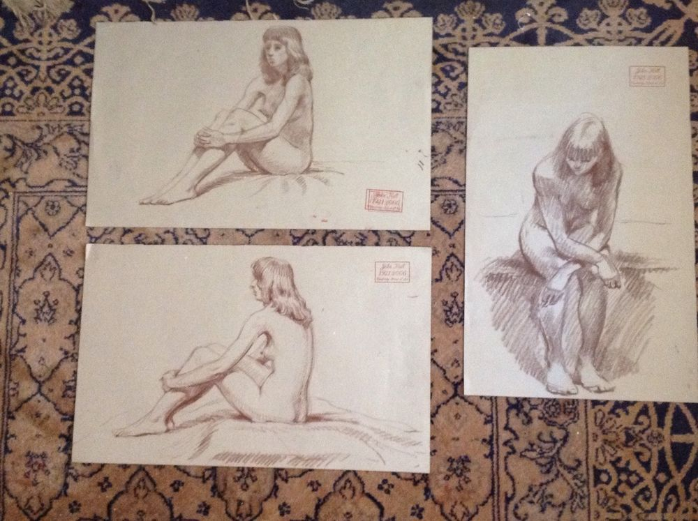 JOHN HALL (1921-2006) NUDE FEMALE SET OF 3 - IMPRESSIONIST - PROVENANCE - EROTIC