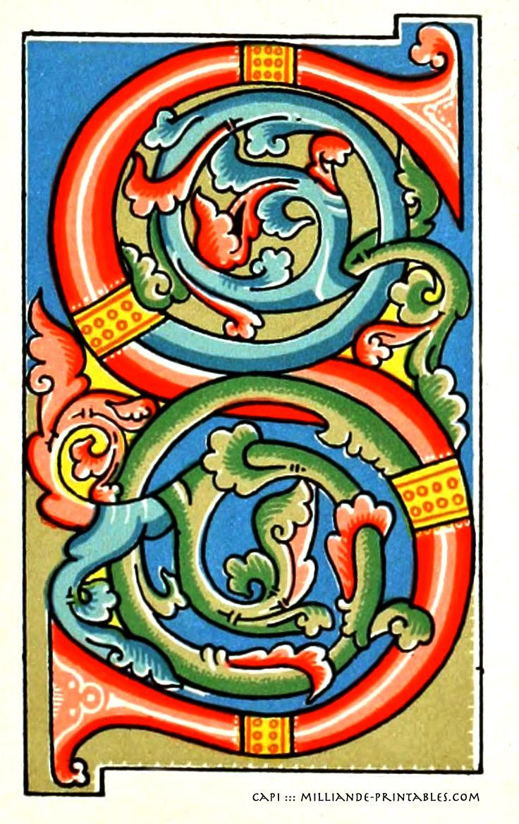Illuminated Manuscript Letters S Printable Alphabet Decorative Ornamental Samples Of Letter Letterform Inspiration For