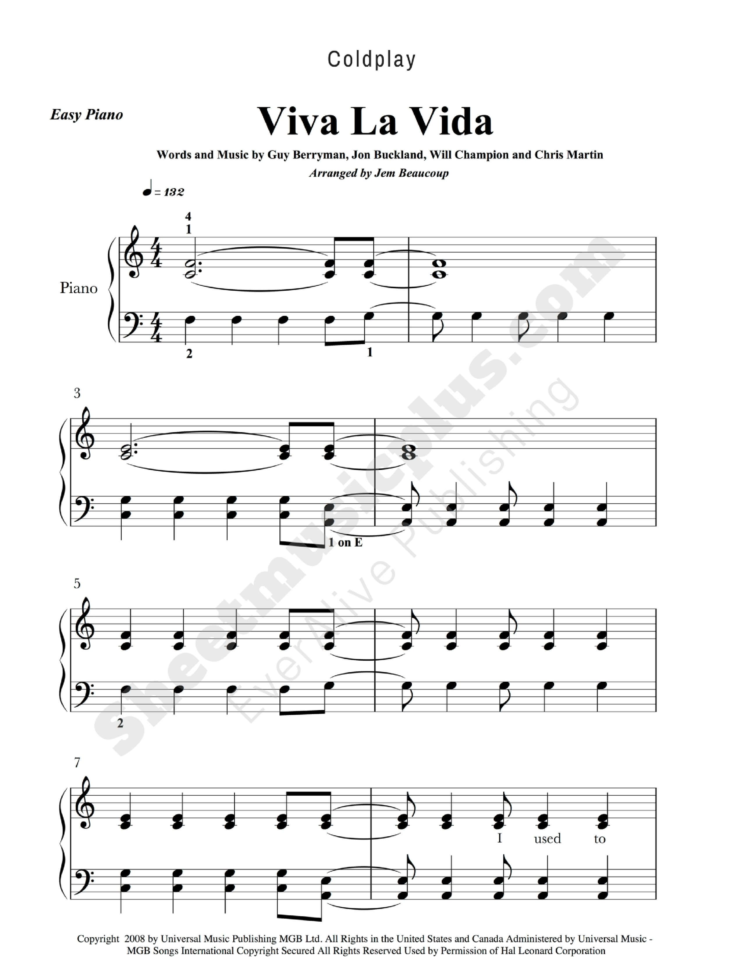 Coldplay Viva La Vida Easy Piano Music Download And Print