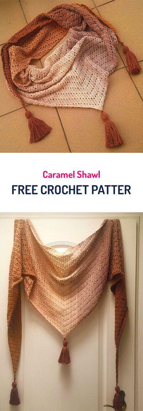 Caramel Shawl Free Crochet Pattern #crochet #fashion #style #crafts #yarn