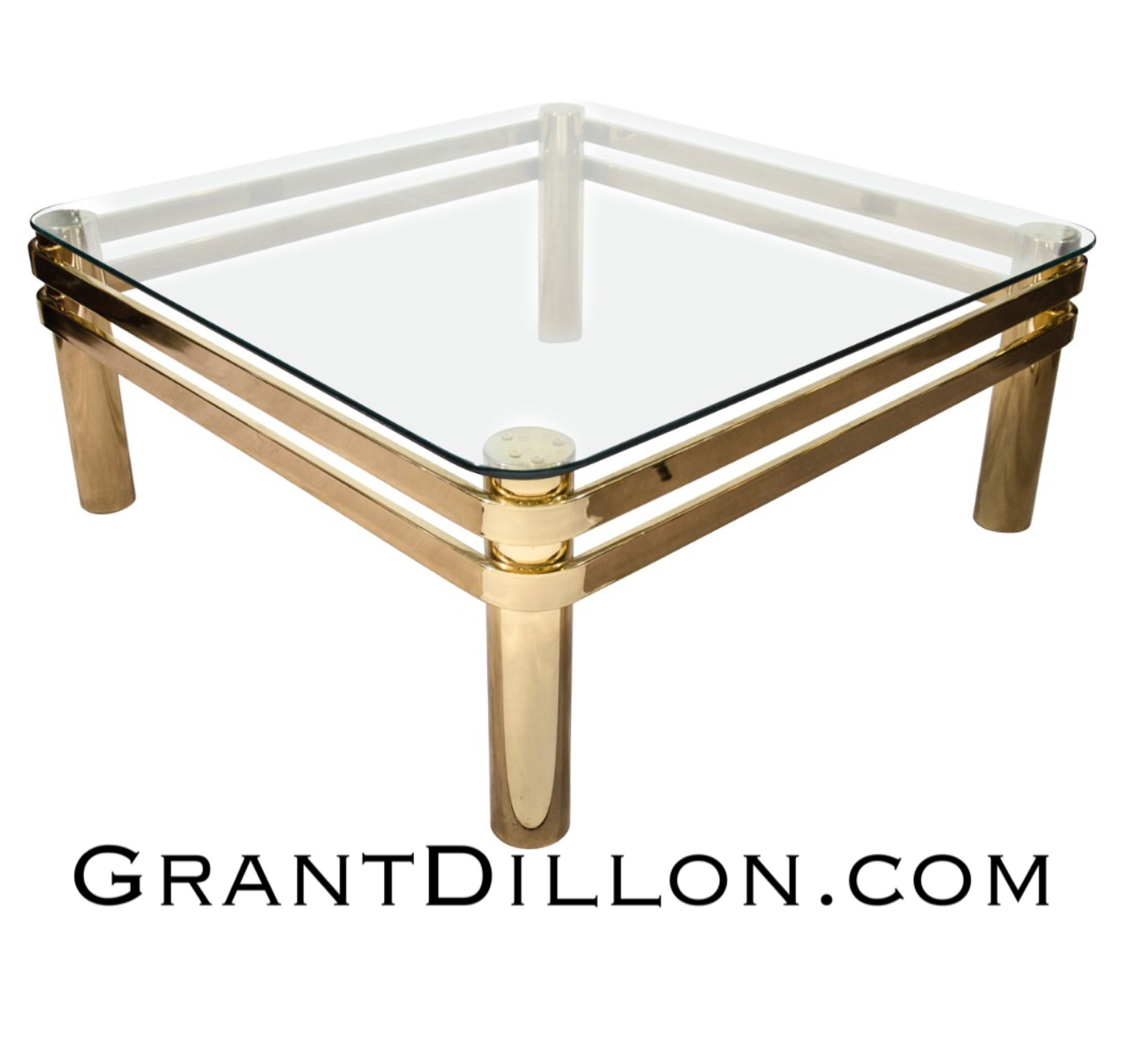 Brass and glass deco inspired coffee table for sale grantdillon
