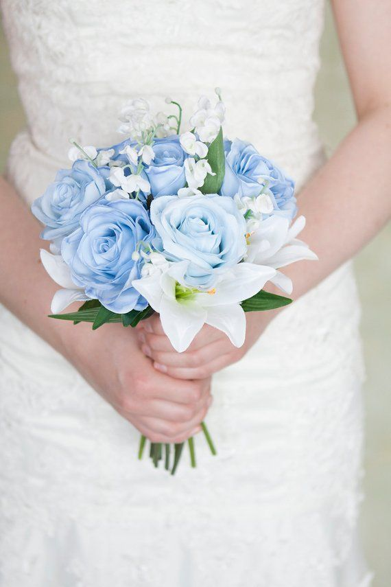 Items similar to Blue White Bridesmaid Bouquet, Small Bridal Bouquet, Light Blue Bridesmaid Bouquet, White Bouquet, Bridal Bouquet, Wedding Bouquet, Silk on Etsy #bridesmaidbouquets
