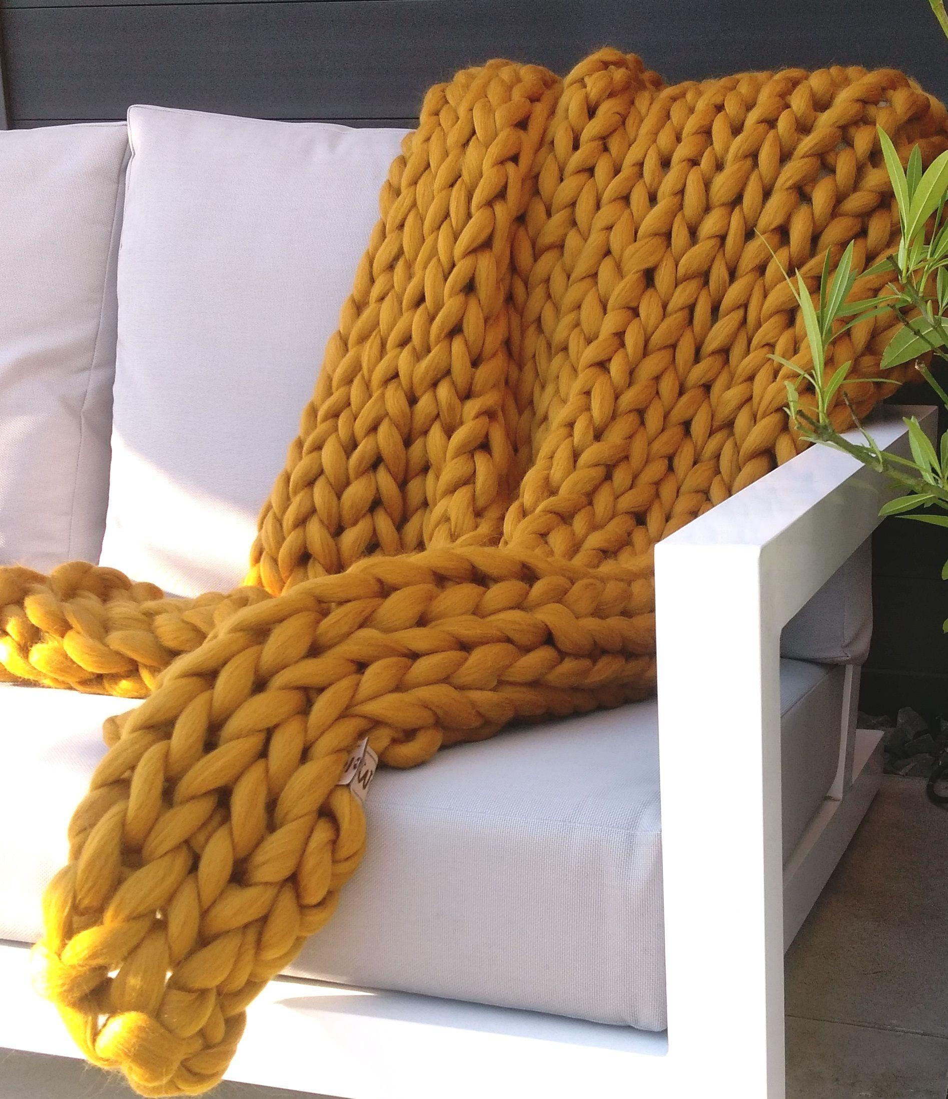 Ochre Yellow Throw Mustard Yellow Decor Yellow Throw Blanket Yellow Throw
