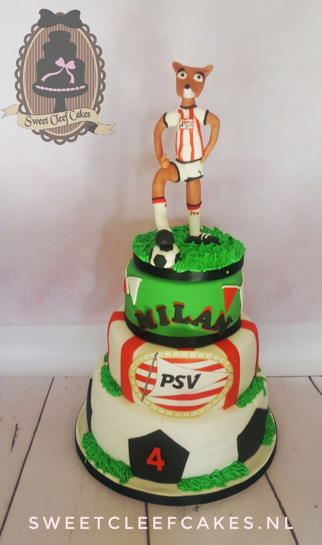 Psv Dutch Soccerfootball Club Birthday Cake Filled With Fresh