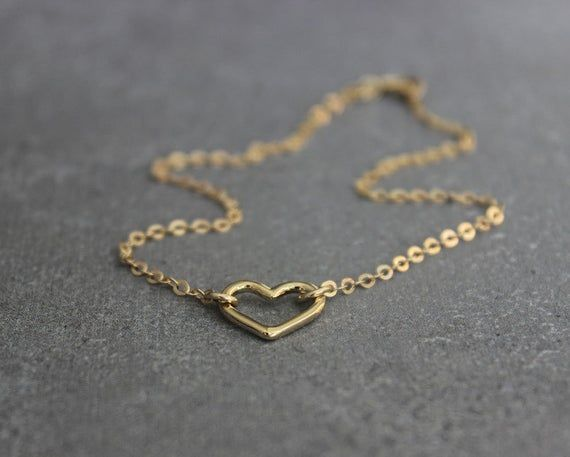 Photo of Gold anklet, dainty anklet, gold anklets for women, foot jewelry, heart anklet.