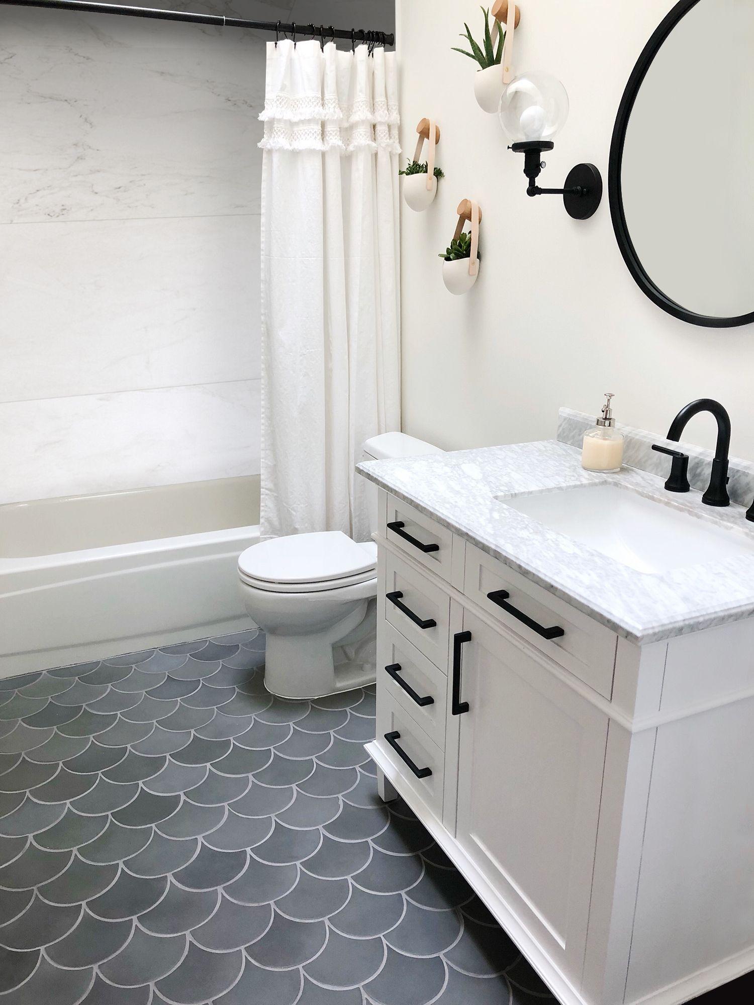 Beautiful Eleganza Urban Concrete Scallop Fan Floor Tile Bathroom