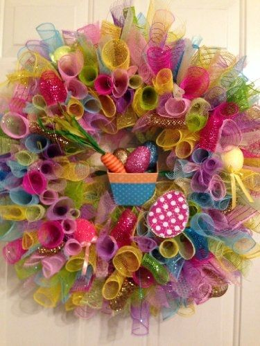 Preview Easter Spring Handmade Deco Mesh Wreath with Easter Basket and Easter Eggs by AI-Kitchen