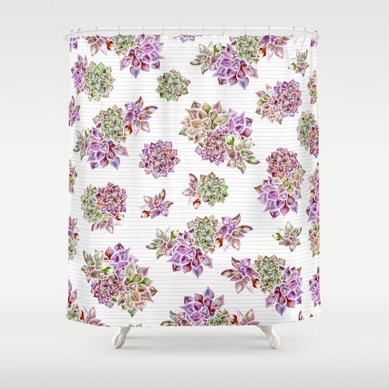 Succulent Garden Shower Curtain By Dina June Toomey