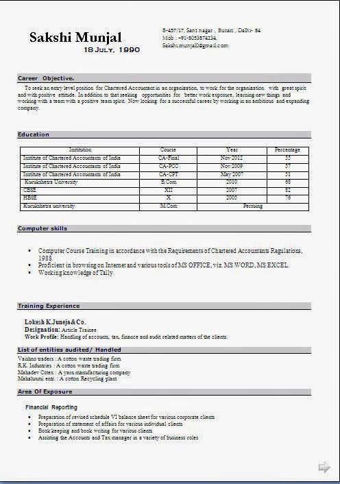 curriculum vitae en francais Sample Template Example ofExcellent - audited accounts template