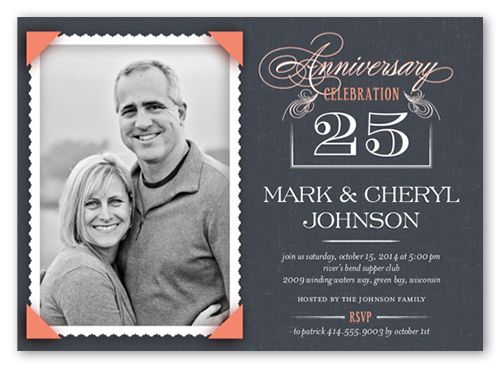 Scalloped Memories 5x7 Invitation Wedding Anniversary - anniversary invitation