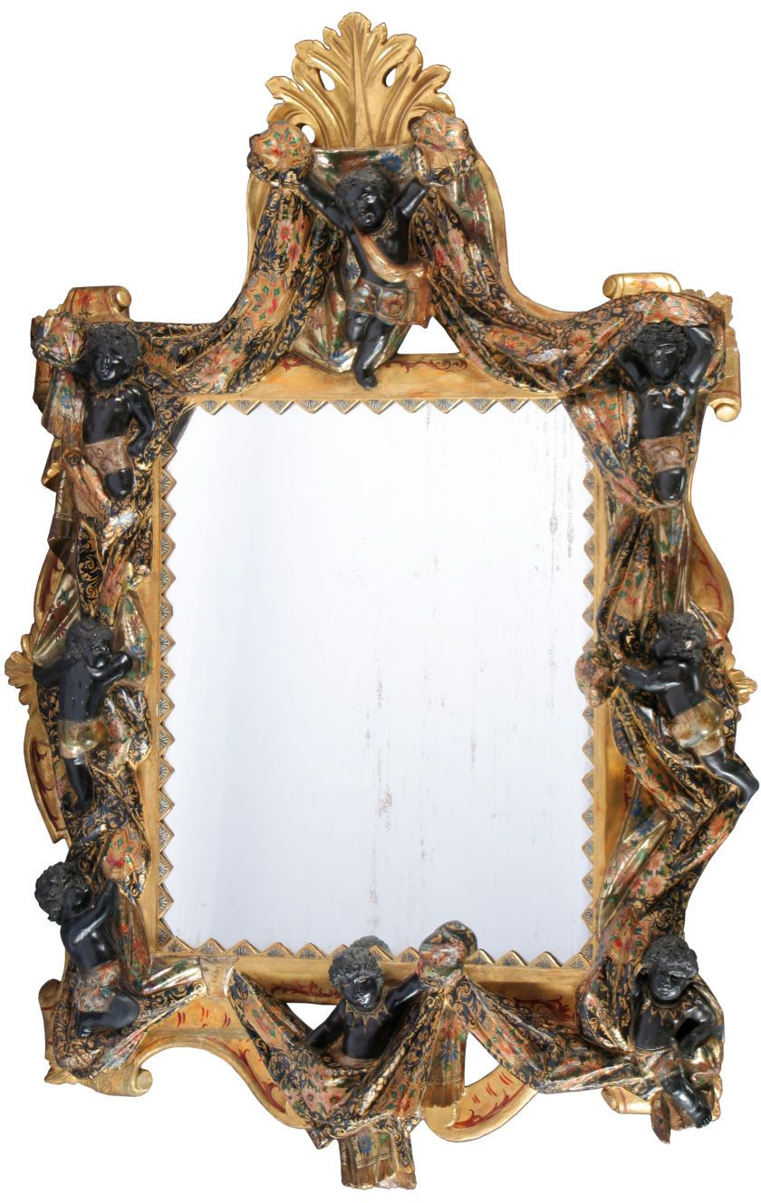A VENETIAN PARCEL GILT AND POLYCHROME WOOD OVERMANTLE MIRROR. Late ...