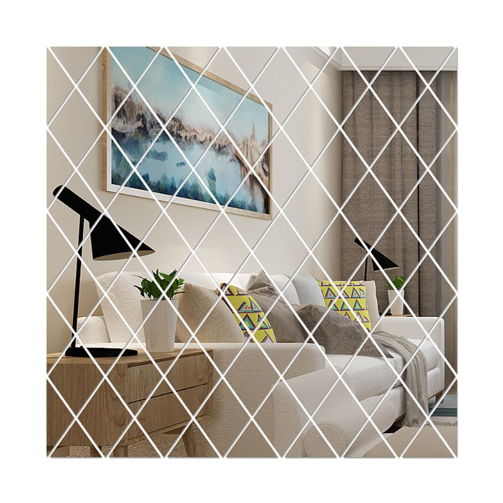 58pcs Diy 3d Mirror Wall Sticker Diamonds Triangles Acrylic Mirror For Living Room Home Bath Decoration Di 2020