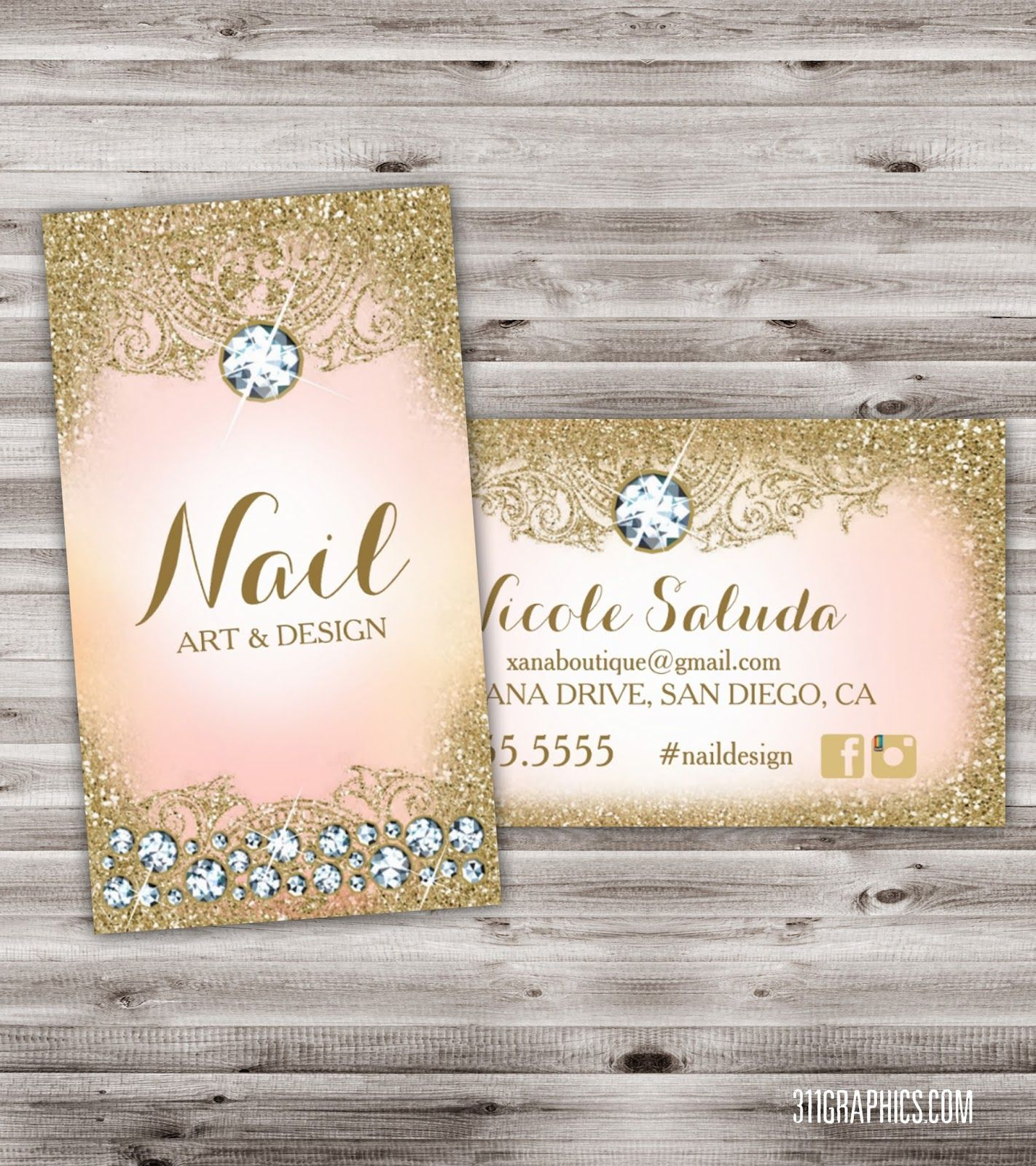 nail salon flyer template prices marketing flyers glitter glam nail art business card diamonds upscale design gold pink