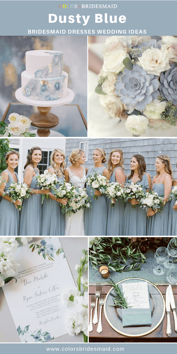 Spring Wedding - Dusty Blue Bridesmaid Dresses, White Bouquets and Wedding Cake