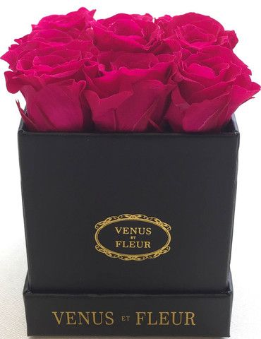 "happy valentine's day"" (pink venus et fleur boxed roses) pic"