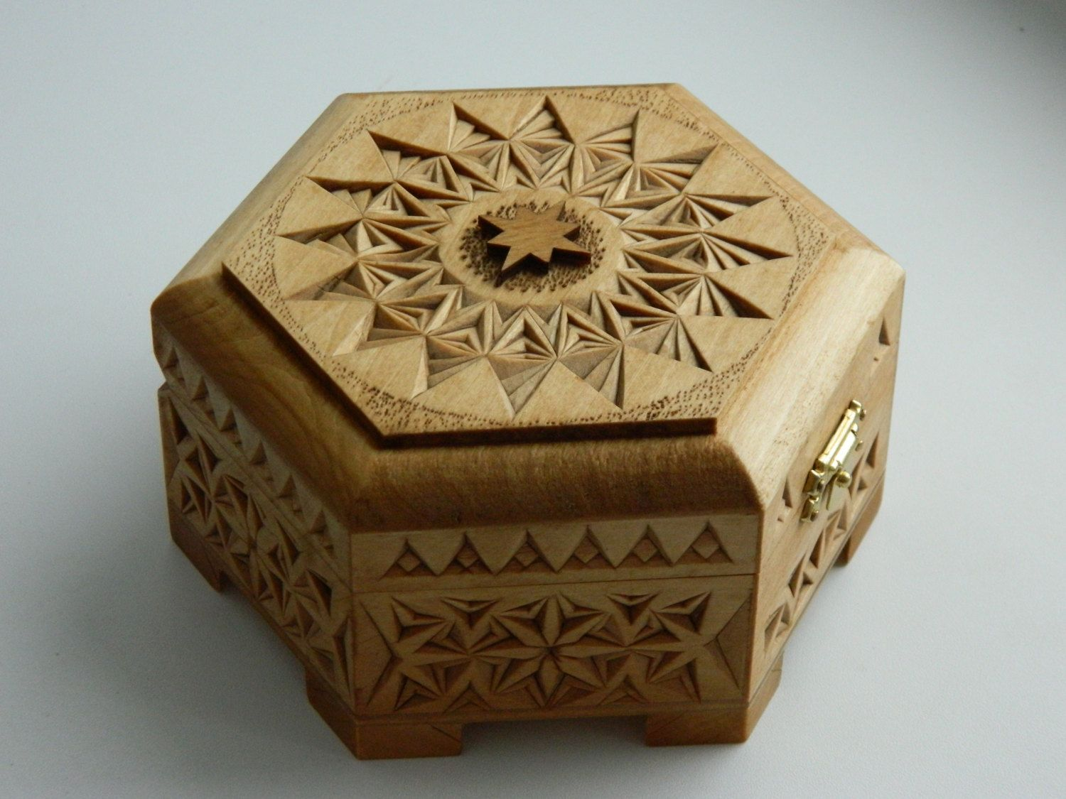 Starry sky hand carved basswood box chip carving woodwork chip