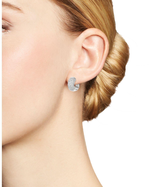 Diamond Pavé Huggie Hoop Earrings In 14k White Gold 1 0 Ct T W 100 Exclusive Bloomingdales S