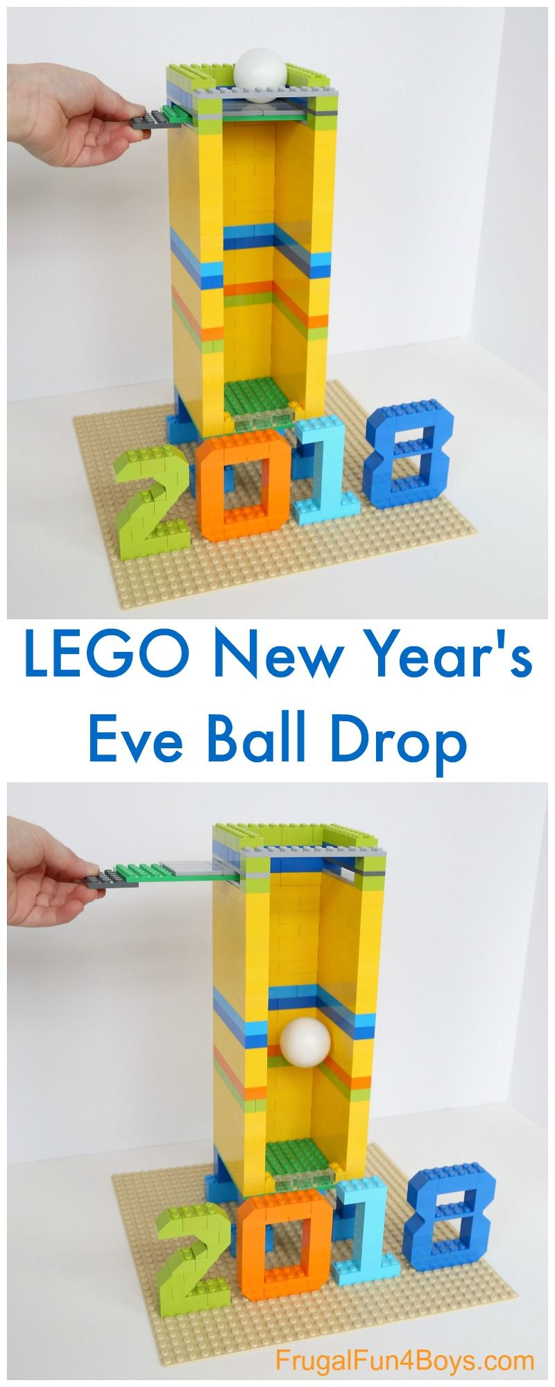 Build A New Year S Eve Ball Drop With Lego Bricks Frugal Fun For Boys And Girls New Years Eve Ball Kids New Years Eve New Year S Eve Activities