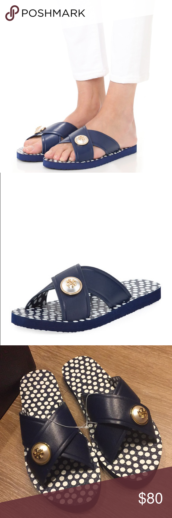 e814f7d4d969 Tory Burch navy melody crisscross sandals