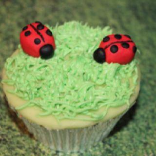Ladybird children's cupcake by loulouscupcakery. Fb loulouscupcakerybrighton / www.loulouscupcakey.co.uk