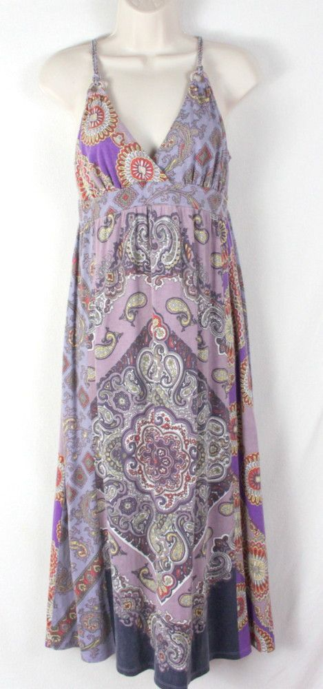 Cute Lucky Brand Dress Purple Paisley Cotton Modal size M Floral Boho Hippy Vacation
