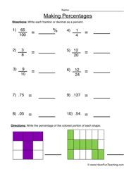 Making Percentages Percentages Worksheet 2 Math Worksheets Math Free Math Worksheets