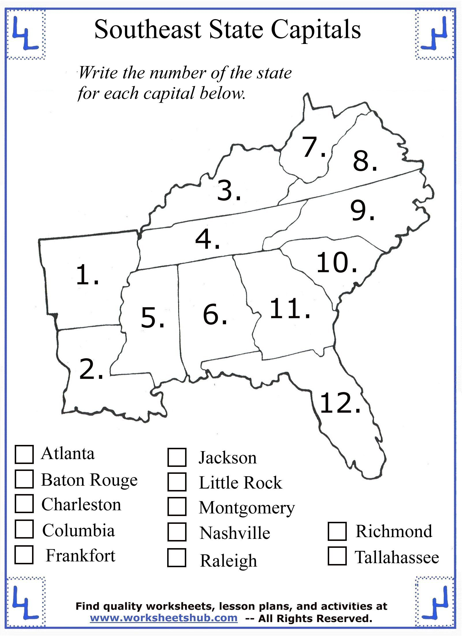 hight resolution of 4th Grade Social Studies Southeast State Capitals 01   Social studies  worksheets